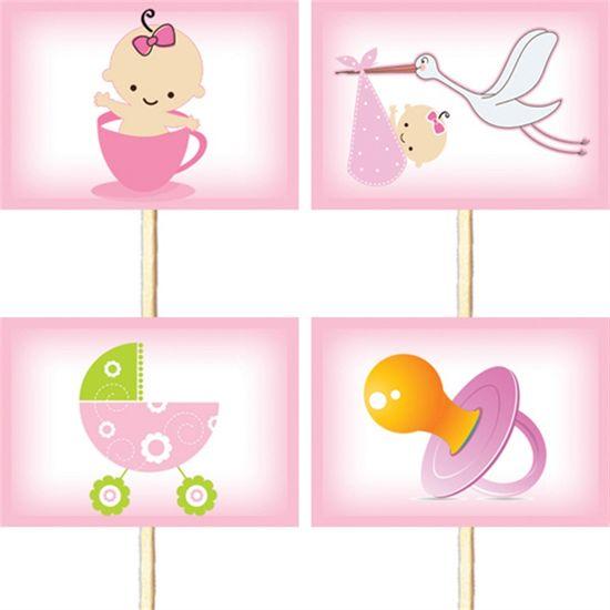 Lolipop para Cupcake Especial Chá de Bebê Rosa - 10 unidades