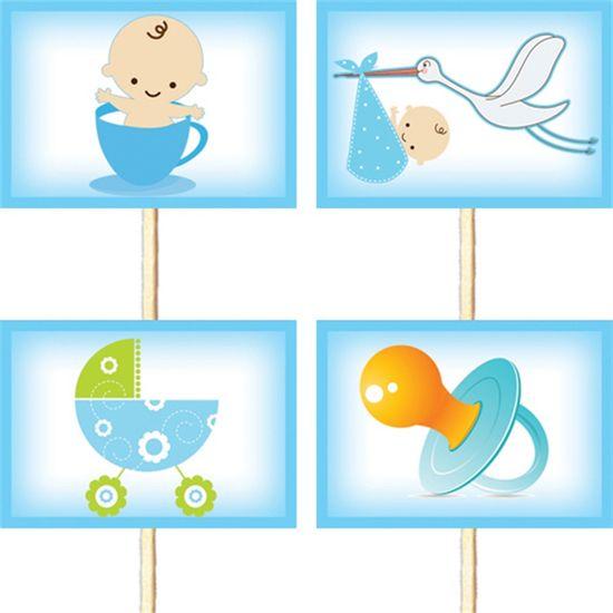 Lolipop para Cupcake Especial Chá de Bebê Azul - 10 unidades