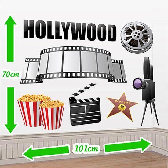 Cenário Adesivo Cinema - Claquete e Pipoca