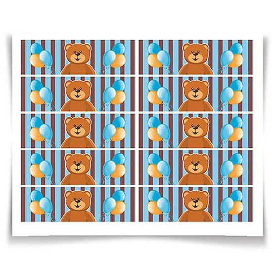 Adesivo Especial Retangular Ursinho Azul e Marrom NEW - 20 unidades