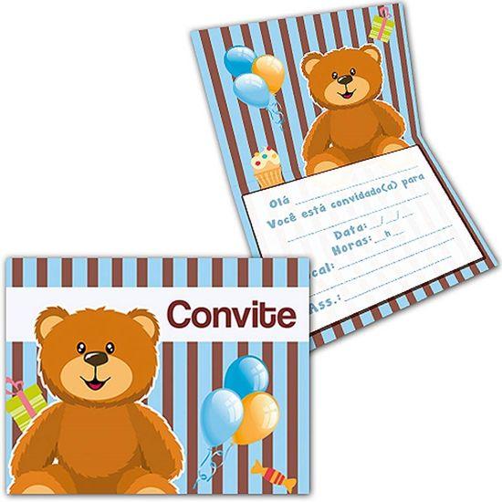 Convite Especial Ursinho Azul e Marrom NEW - 08 unidades