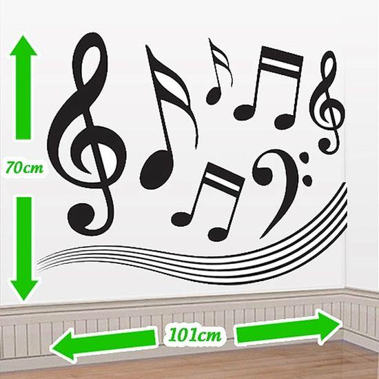 Cenário Adesivo Notas Musicais - Preto e Branco
