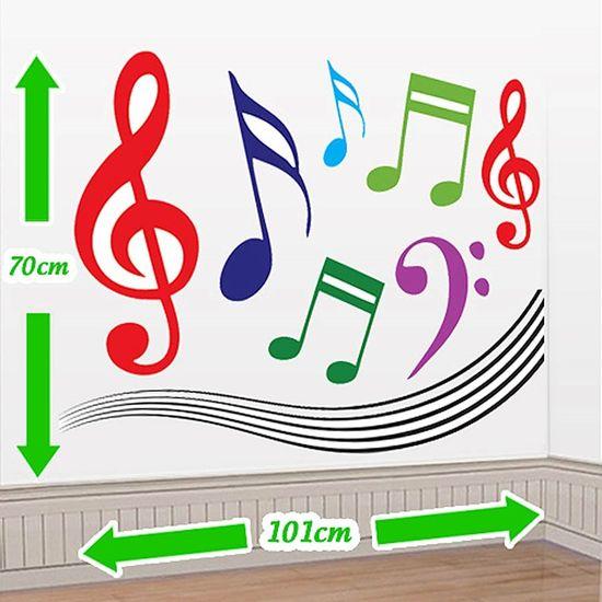 Cenário Adesivo Notas Musicais - Colorido
