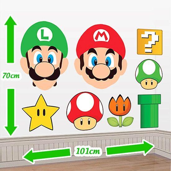 Festa Super Mario Bros - Cenário Adesivo Super Mario Bros - Personagens Cenário Adesivo Super Mario Bros - Personagens