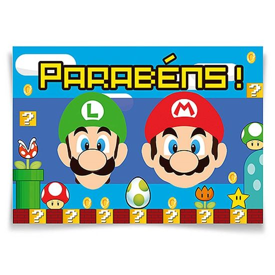 Festa Super Mario Bros - Painel Horizontal Super Mario Bros - 106x75cm Painel Horizontal Super Mario Bros - 106x75cm