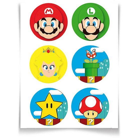 Festa Super Mario Bros - Adesivo Especial Redondo Super Mario Bros - 12 unidades Adesivo Especial Redondo Super Mario Bros - 12 unidades