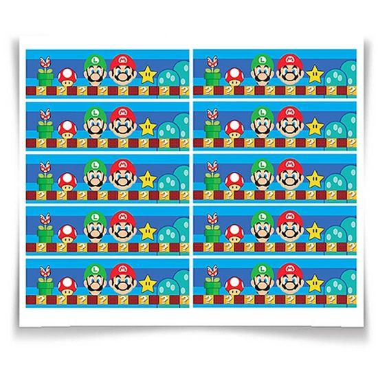 Festa Super Mario Bros - Adesivo Especial Retangular Super Mario Bros - 20 unidades Adesivo Especial Retangular Super Mario Bros - 20 unidades