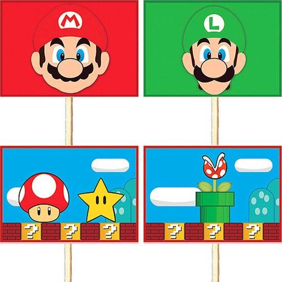 Festa Super Mario Bros - Lolipop para Cupcake Especial Super Mario Bros - 10 unidades Lolipop para Cupcake Especial Super Mario Bros - 10 unidades