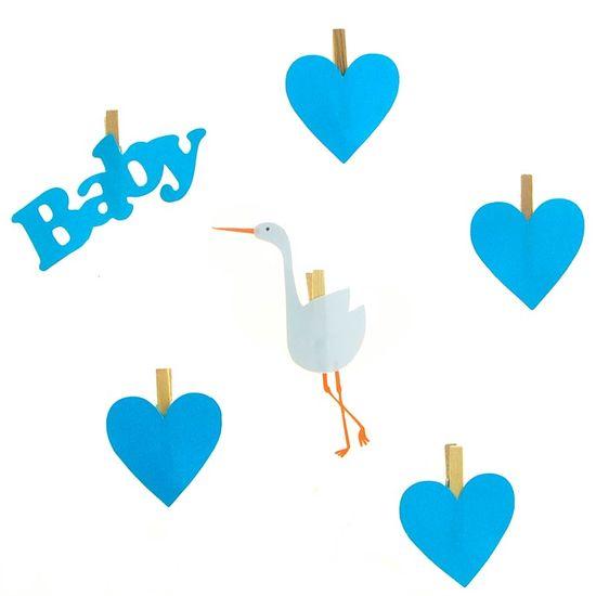 FL - Mini Prendedor Chá de Bebê Azul - 06 unidades