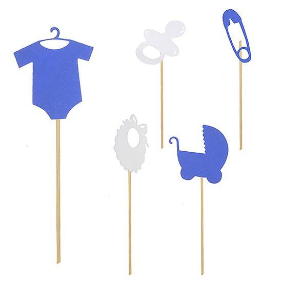 kit Acessórios Plaquinha Chá de Bebê Azul - 05 unidades