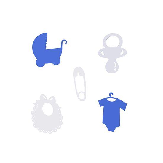Aplique Artesanal Chá de Bebê Azul P - 15 Unidades