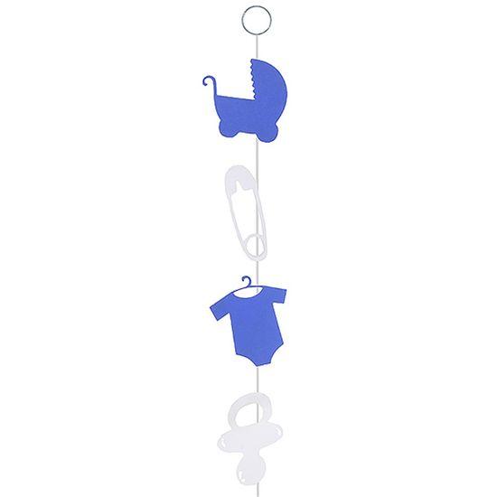 Móbile Artesanal Chá de Bebê Azul 80cm