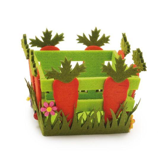 Cromus - Cestas em Feltro Quadrada Cenouras Pequena - 1 Pacote com 6 Unidade