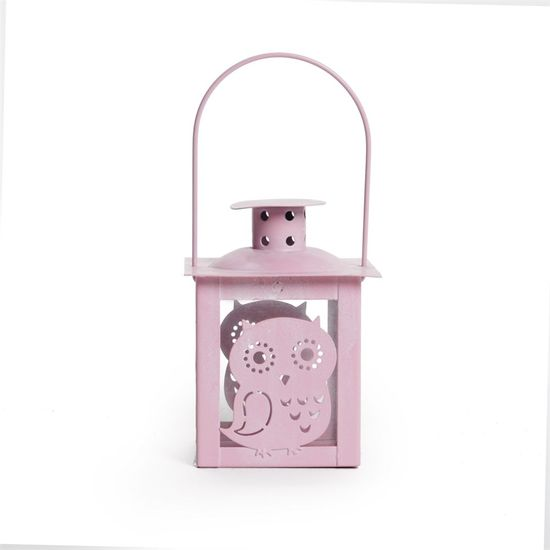 Cromus - Lamparina Coruja Rosa Claro ( Porta Velas em Metal ) - 6 Unidades