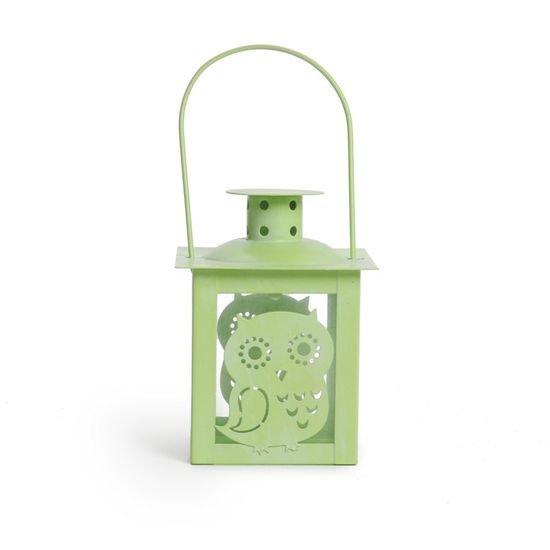 Cromus - Lamparina Coruja Verde Claro ( Porta Velas em Metal ) - 6 Unidades