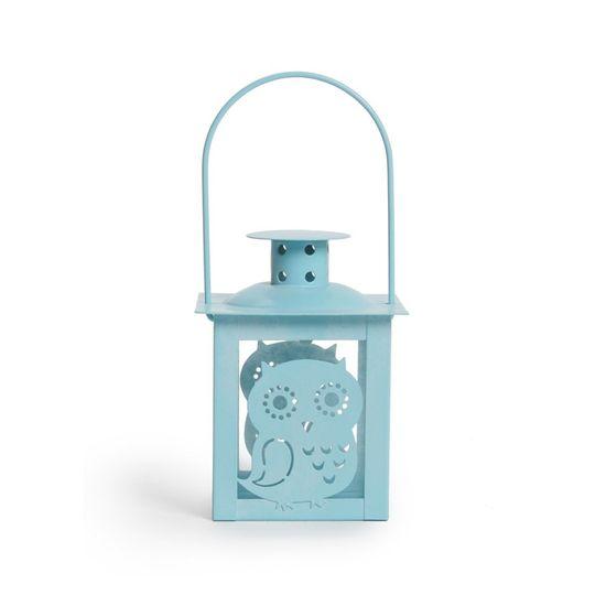 Cromus - Lamareloparia Coruja Azul Claro ( Porta Velas em Metal ) - 6 Unidades