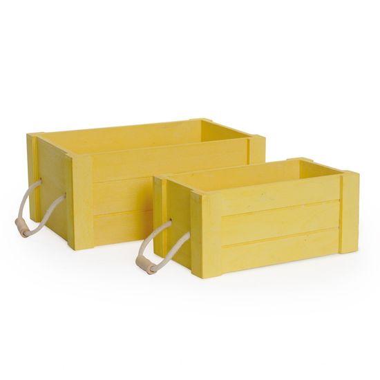 Cromus - Caixote Alça Amarelo ( Caixotes de Madeira ) - 1 Jogo com 2 Peças