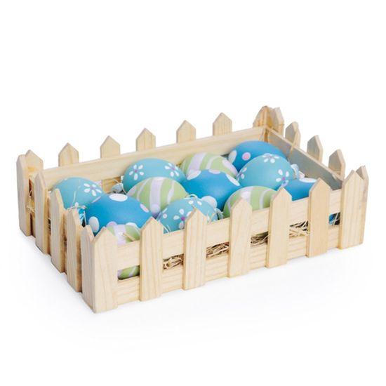 Cromus - Casadinho com Cestinha Ovos Galinha Azul Verde e Rosa 6cm - 1 Jogo com 9 Unidadeidade6