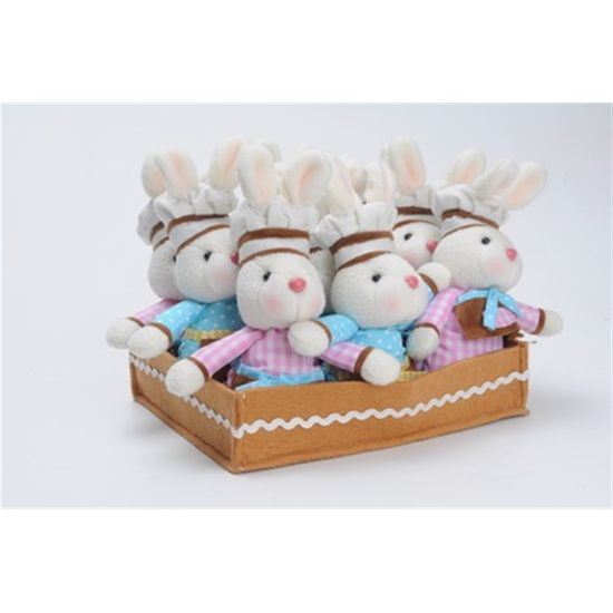 Cromus - Chocolaterie 9 Mini Coelhos Marrom e Rosa e Azul e Amarelo - 1 Jogo com 9 Unidade