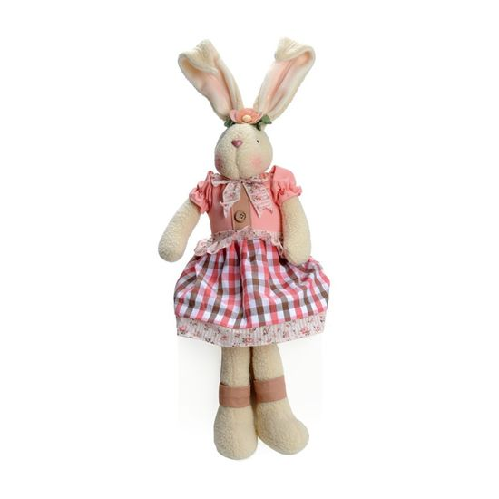 Cromus - Camafeu Coelha Sentada Rosa e Marrom - 1 Pacote com 2 Unidade