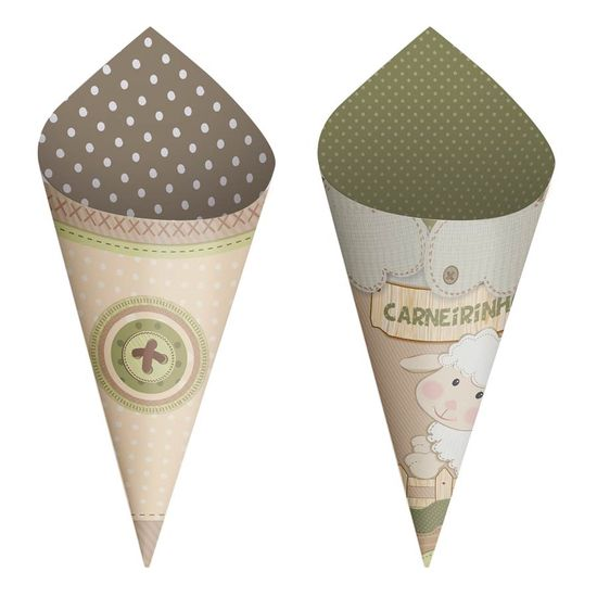 Festa Ovelhinha - Cromus Sonho de Carneirinho - Mini Cone 24 unidades FL - Cromus Sonho de Carneirinho - Mini Cone 24 unidades
