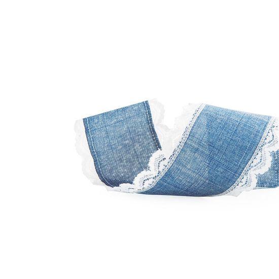 Fita de Natal Juta Borda Renda Azul e Branco 6,3cm (Fita para Presente) - 3 Un