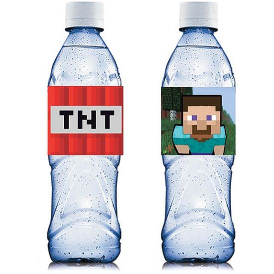 Adesivo Especial Água Mineral Minecraft Steve e TNT - 06 Un