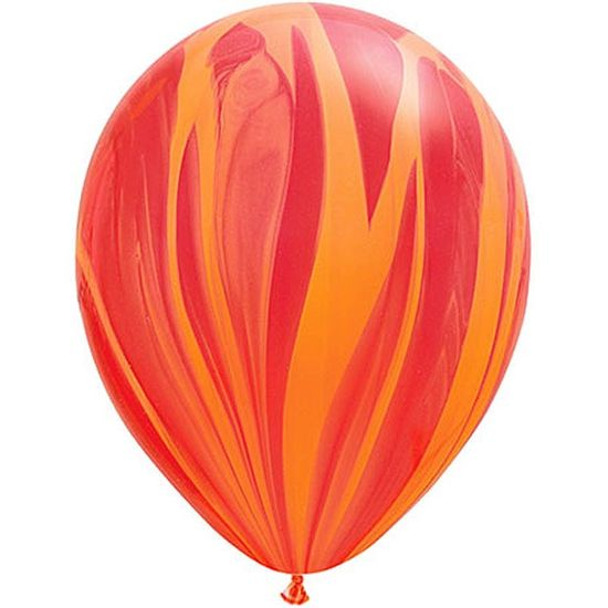Balão Super Agate 28cm Rainbow Red Orange - 05 unidades