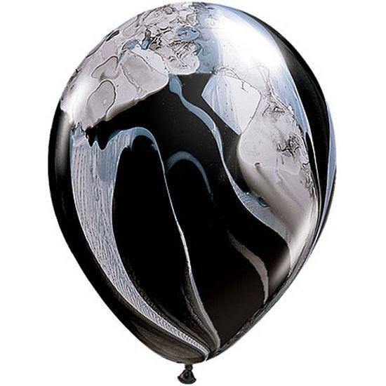 Balão Super Agate 28cm Black & White - 05 unidades