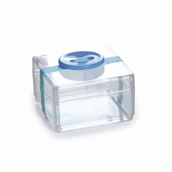 Acrílico Quadrado com Botão Azul - Pacote com 8 Unidades