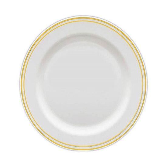 Prato Sobremesa Borda Dourada 19cm - 06 unidades