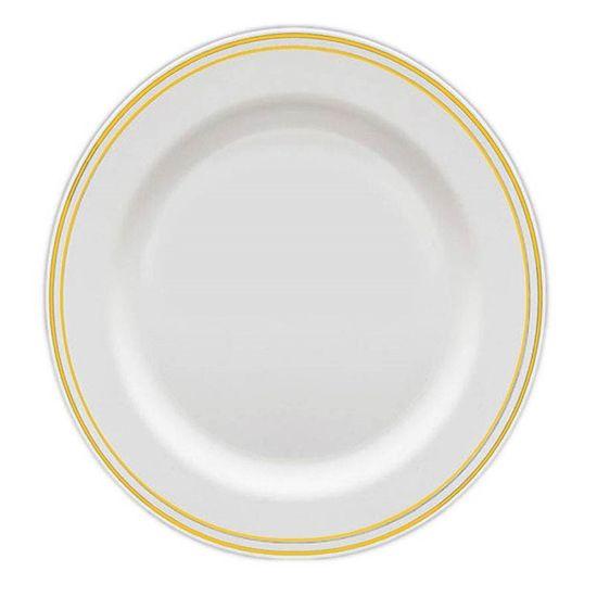 Prato Refeição Borda Dourada 26cm - 06 Un