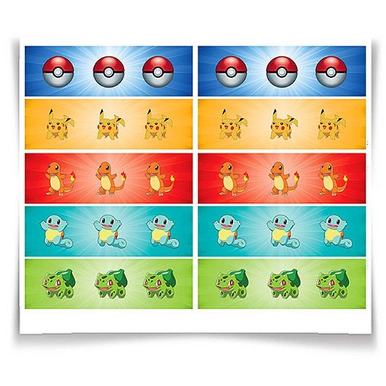 Adesivo Especial Retangular Pokémon - 20 Un