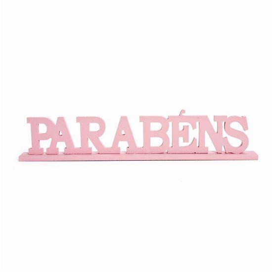 Letras Decorativas de Madeira Parabéns Rosa - 1 Unidade