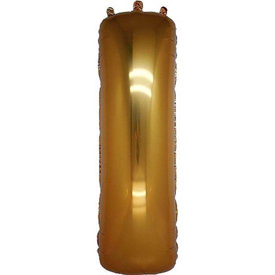 Balão Metalizado Gigante 86cm Liso Letra Dourado - I