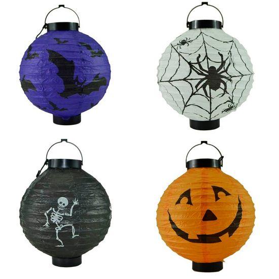 Lanterna Redonda Luminosa Halloween 19cm - Modelos Variados
