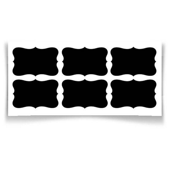 Adesivo Lousa Cartela Arabesco Retangular 5x3cm Preto - 24 Un