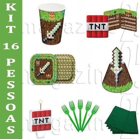 Festa Minecraft - Kit para Festa Game - Para 16 Pessoas