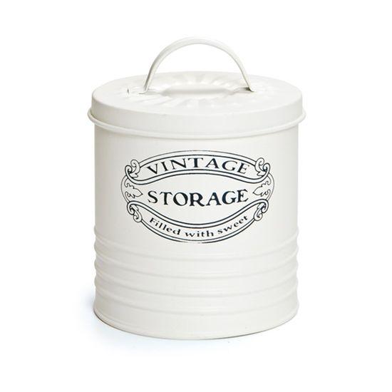 Cachepots em Metal - Lata Vintage Storage 12x10cm Offwhite - 06 unidades