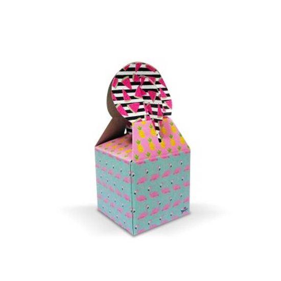 Caixa para Lembrancinhas Tropical Flamingo - 08 unidades