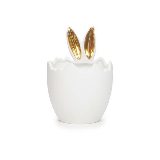 Cerâmica Açúcar - Porta-ovo Coelho Vaso Pontilhado Branco/Ouro - 04 Un