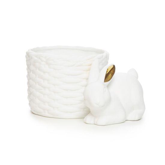 Cerâmica Açúcar - Porta-ovo Coelho Vaso Trançado Branco/Ouro - 04 Un
