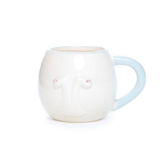 Caneca Branco e Azul Claro Tamanho Grande ( Cerâmica Patisserie ) - 4 Un