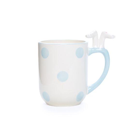 Caneca Branco e Azul Claro Tamanho Pequeno ( Cerâmica Patisserie ) - 4 Un