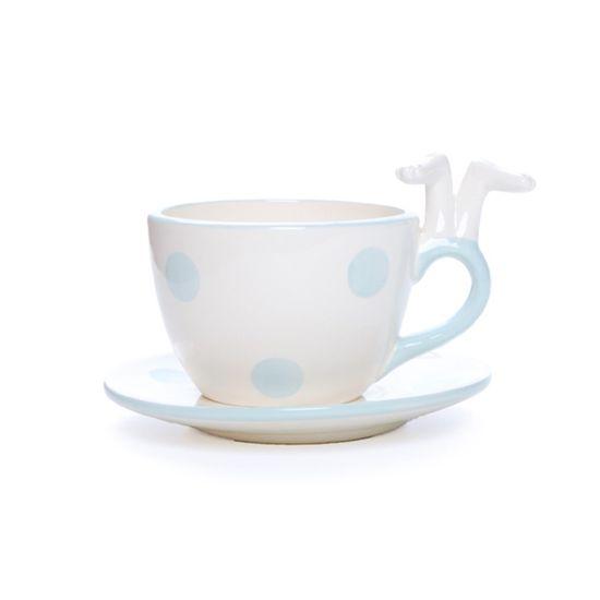 Cromus - Cerâmica Patisserie Xicara com Pires Branco Azul - 1 Pacote com 4 Unidades