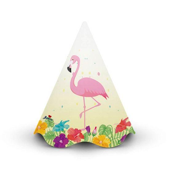 Chapéu de Aniversário Tropical Flamingo - 08 Un