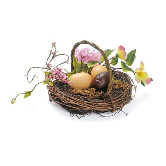 Fondant Cesta Ovos de Chocolate Marrom e Bege - 4 Un