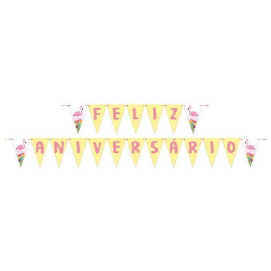 Faixa Feliz Aniversário Tropical Flamingo