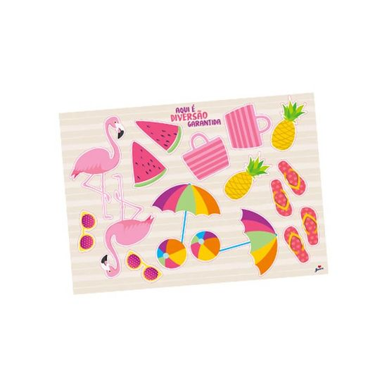 Kit Decorativo Cartonado Tropical Flamingo