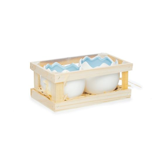 Guloseima - Caixa com 02 Meio Ovos de Cerâmica Grande Azul - 04 Jogos